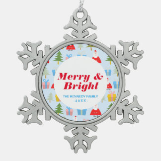 Cute Santa Christmas Pattern Snowflake Pewter Christmas Ornament