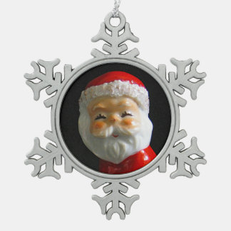 Cute Santa Claus face Snowflake Pewter Christmas Ornament