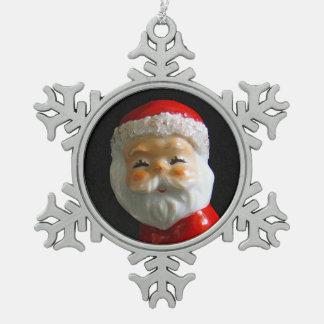 Cute Santa Claus face Snowflake Pewter Christmas Ornament