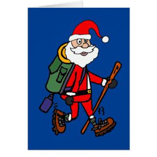 Cute Santa Claus Hiking Christmas Cartoon Card
