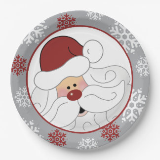 Cute Santa Claus Holiday Paper Plate