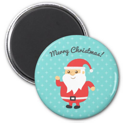 Cute Santa Claus Jolly and Merry Christmas Refrigerator Magnets