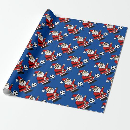 Cute Santa Claus Playing Soccer Christmas Cartoon Wrapping
