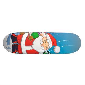 Cute santa claus skateboards