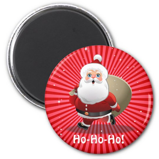 Cute Santa Claus With A Sack Full Of Presents Magnet