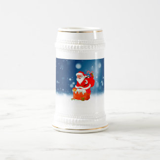Cute Santa Claus with Gift Bag Christmas Snow Star Beer Stein