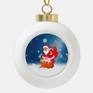 Cute Santa Claus with Gift Bag Christmas Snow Star Ceramic Ball Christmas Ornament