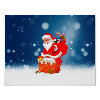 Cute Santa Claus with Gift Bag Christmas Snow Star Poster