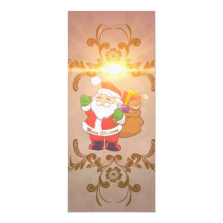Cute Santa Claus with gifts 4x9.25 Paper Invitation Card