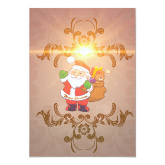 Cute Santa Claus with gifts 5x7 Paper Invitation Card