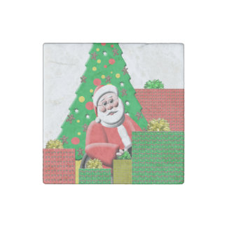 Cute Santa Clause Christmas Tree Presents Stone Magnet