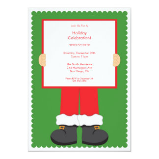 Cute Santa Clause Holiday Party Invitation