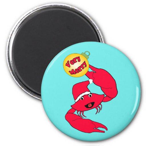 Cute Santa Crab Very Merry Christmas Magnets