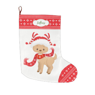 Cute Santa Deer with Scarf Personalized Large Christmas Stocking