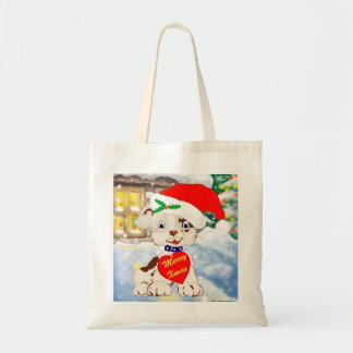 Cute Santa Dog with cottage background Bags