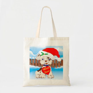 Cute Santa Dog with Snow Covered Fence Canvas Bag