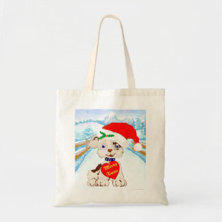 Cute Santa Dog with Winter Landscape Canvas Bags