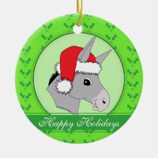 Cute Santa Donkey Holly Season's Greetings Christmas Ornament
