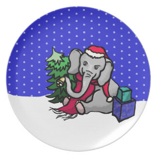 Cute Santa Elephant Sitting in the Snow Plate