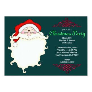 CUTE Santa Face With Red Border 5x7 Paper Invitation Card