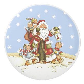 Cute Santa Folk Art Kids Christmas Snowflakes Ceramic Knob