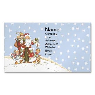 Cute Santa Folk Art Kids Christmas Snowflakes Magnetic Business Cards (Pack Of 25)