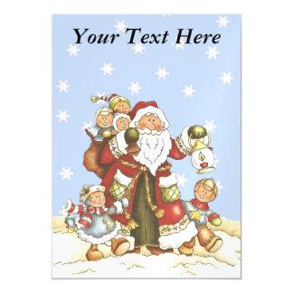 Cute Santa Folk Art Kids Christmas Snowflakes Magnetic Invitations