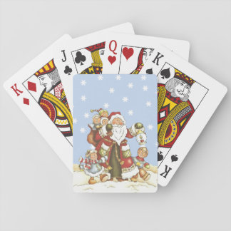 Cute Santa Folk Art Kids Christmas Snowflakes Playing Cards