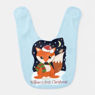 Cute Santa fox and custom text / name Bib