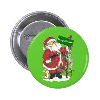 Cute Santa Furry Animals Merry Christmas 6 Cm Round Badge