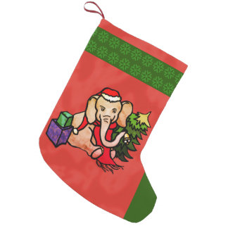 Cute Santa Hat Bell-Ringing Christmas Elephant Small Christmas Stocking