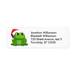 Cute Santa Hat Frog Christmas Return Address Label