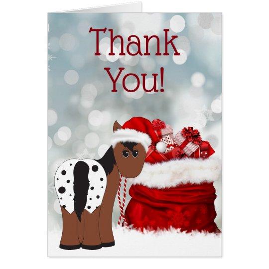 Cute Santa Horse and Gifts Holiday Thank You
