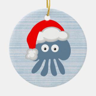 Cute Santa Jellyfish Christmas Ornament