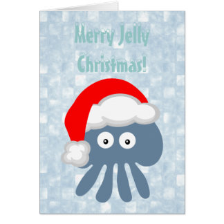 Cute Santa Jellyfish Merry Jelly Christmas Card