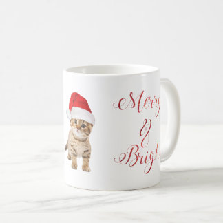 Cute Santa Kitten Cat Merry & Bright Coffee Mug