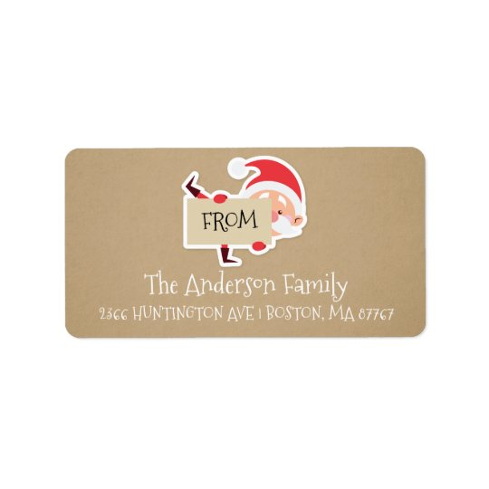 Cute Santa Kraft Christmas Address Label
