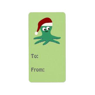 Cute Santa Octopus Address Label