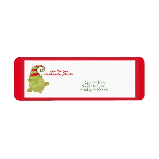 Cute Santa Owl address label