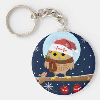 Cute Santa Owl with custom name Key Ring