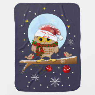 Cute Santa Owl with custom text and name Baby Blanket