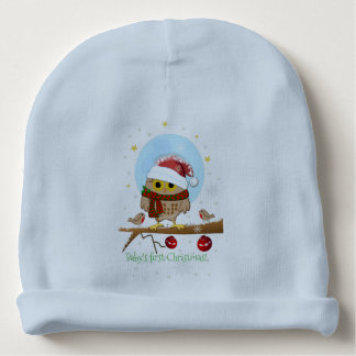 Cute Santa Owl with custom text Baby Beanie