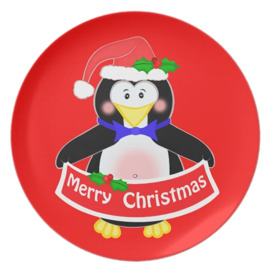 Cute Santa Penguin Christmas Plate