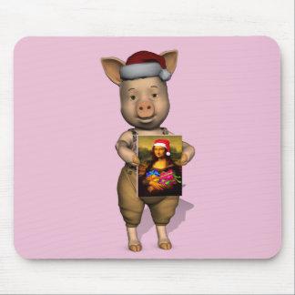 Cute Santa Piggie Showing Personalizable Image Mouse Pad