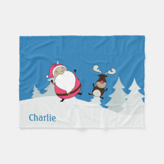 Cute Santa & Reindeer custom name fleece blankets