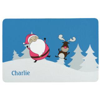 Cute Santa & Reindeer custom name floor mat