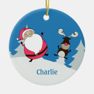 Cute Santa & Reindeer custom name ornament