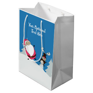 Cute Santa & Reindeer custom text medium gift bag