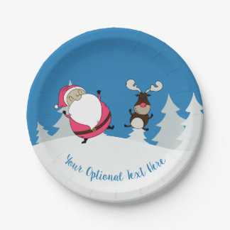 Cute Santa & Reindeer custom text paper plates
