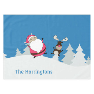 Cute Santa & Reindeer custom text table cloth